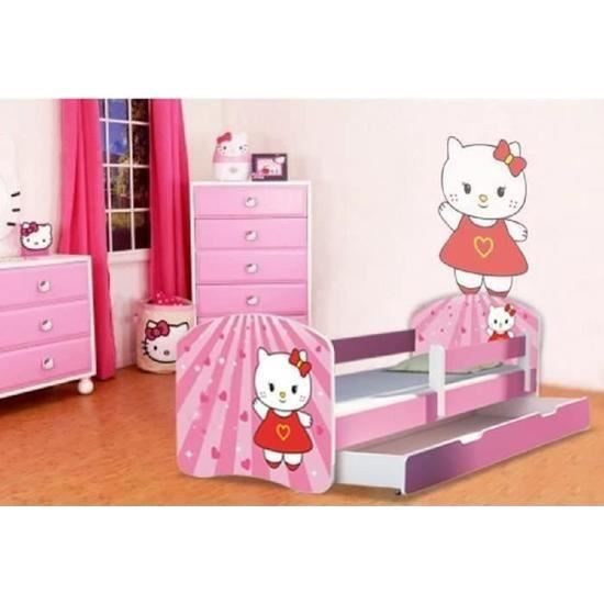 lit gigogne fille hello kitty avec sommier et matelas. Black Bedroom Furniture Sets. Home Design Ideas