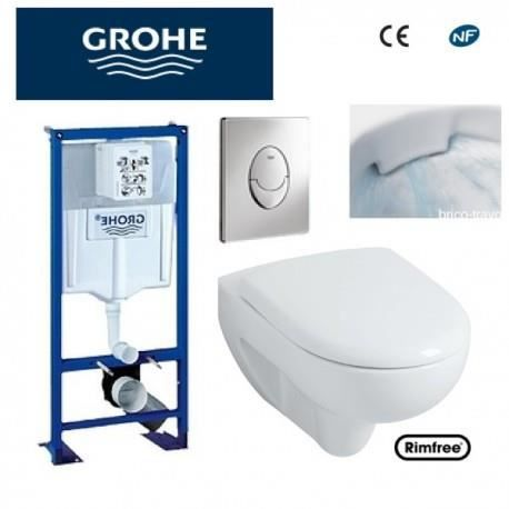 wc suspendu grohe plaque grise rimfree achat vente wc toilettes wc suspendu grohe plaque. Black Bedroom Furniture Sets. Home Design Ideas