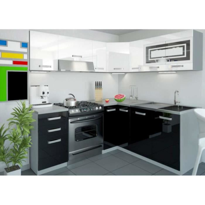 justhome lidja led l cuisine quip e compl te 190x170 cm couleur noir blanc laqu haute. Black Bedroom Furniture Sets. Home Design Ideas