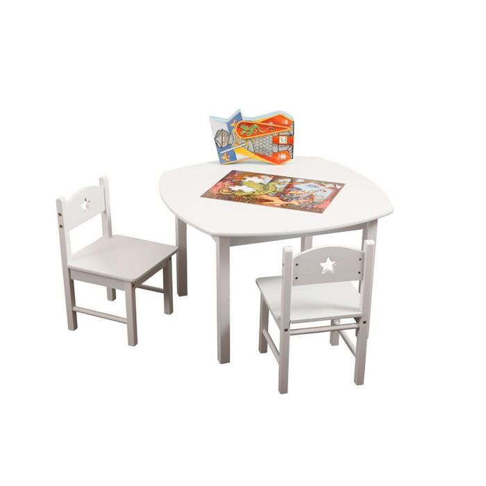 ensemble table et chaises enfant etoile blanc achat vente table et chaise 3662275007237. Black Bedroom Furniture Sets. Home Design Ideas