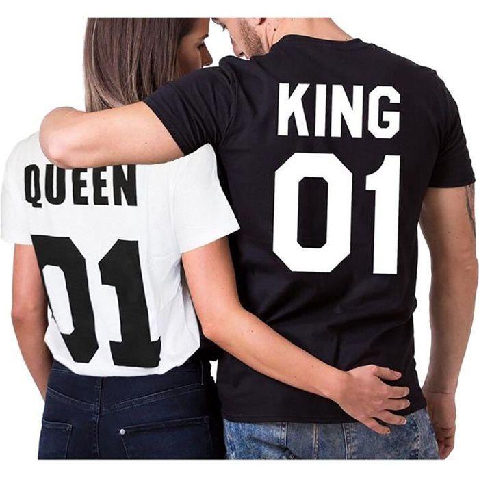 Minetom Eté Couple T Shirt Femmes Hommes Casual Col Rond Manche Courte Imprimer Lettre De King Queen Tops Amants Chemise Cadeaux