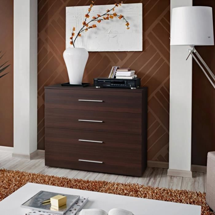 paris prix commode 4 tiroirs go 100cm weng marron achat vente commode de chambre paris. Black Bedroom Furniture Sets. Home Design Ideas