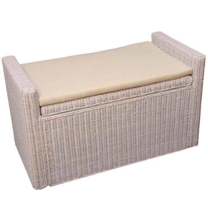 banc coffre de rangement blanc en rotin avec co achat vente banc rotin coton polyester. Black Bedroom Furniture Sets. Home Design Ideas