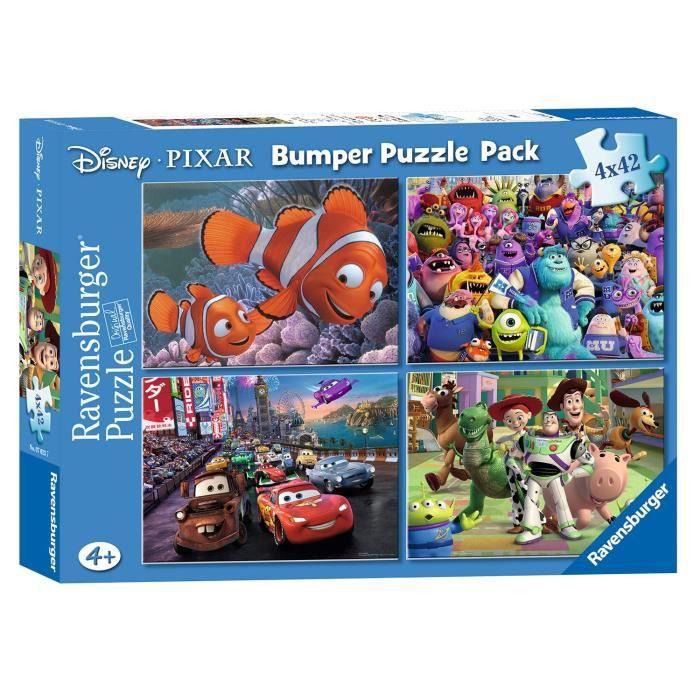 PUZZLE DISNEY PIXAR Puzzle 4 x 42 Pièces, Cars, Monstres