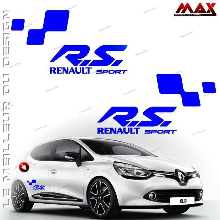 2 stickers renault sport bleu roi twingo clio m gane captur sc nic kadjar autocollant. Black Bedroom Furniture Sets. Home Design Ideas