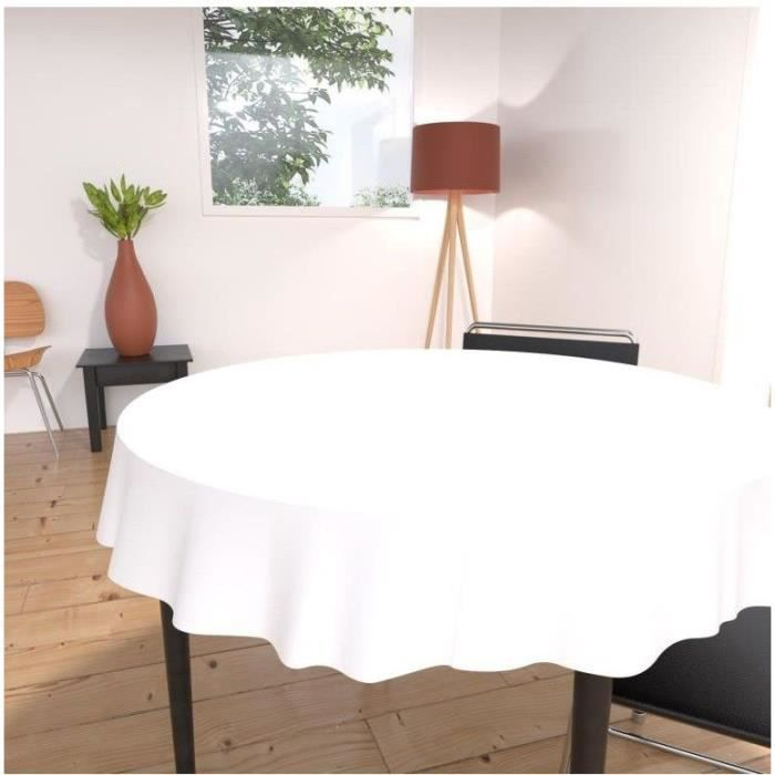 nappe ronde alix 180cm blanche achat vente nappe de. Black Bedroom Furniture Sets. Home Design Ideas