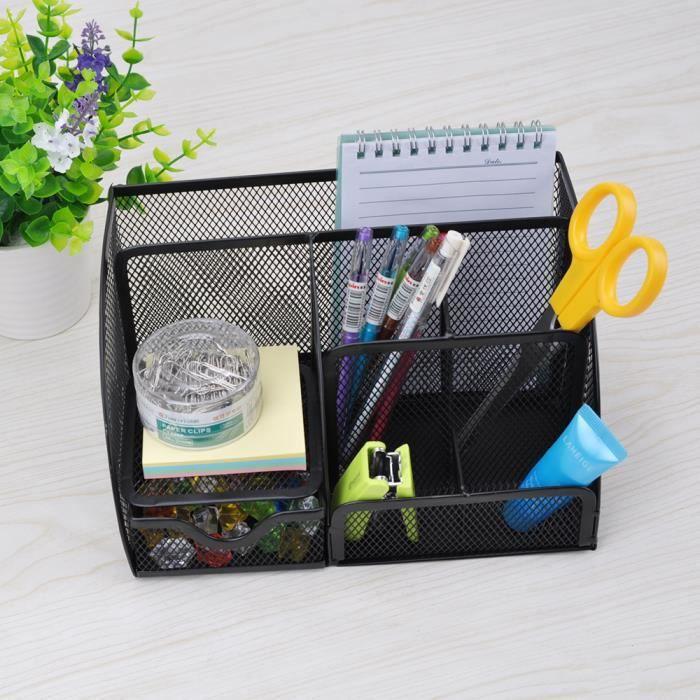 le porte-stylo en bois 280 * 143 * 157mm Blanc laiteux le bureau la papeterie Porte-stylo multifonction avec tiroirs pour la maison la table