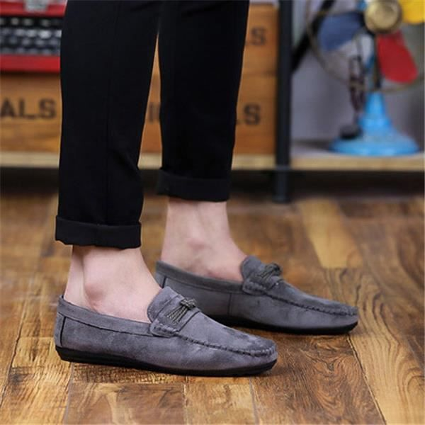New Mens Fashion Suede Slip On Chaussures plates mocassin de conduite oisif Souliers simplegris41,gris41