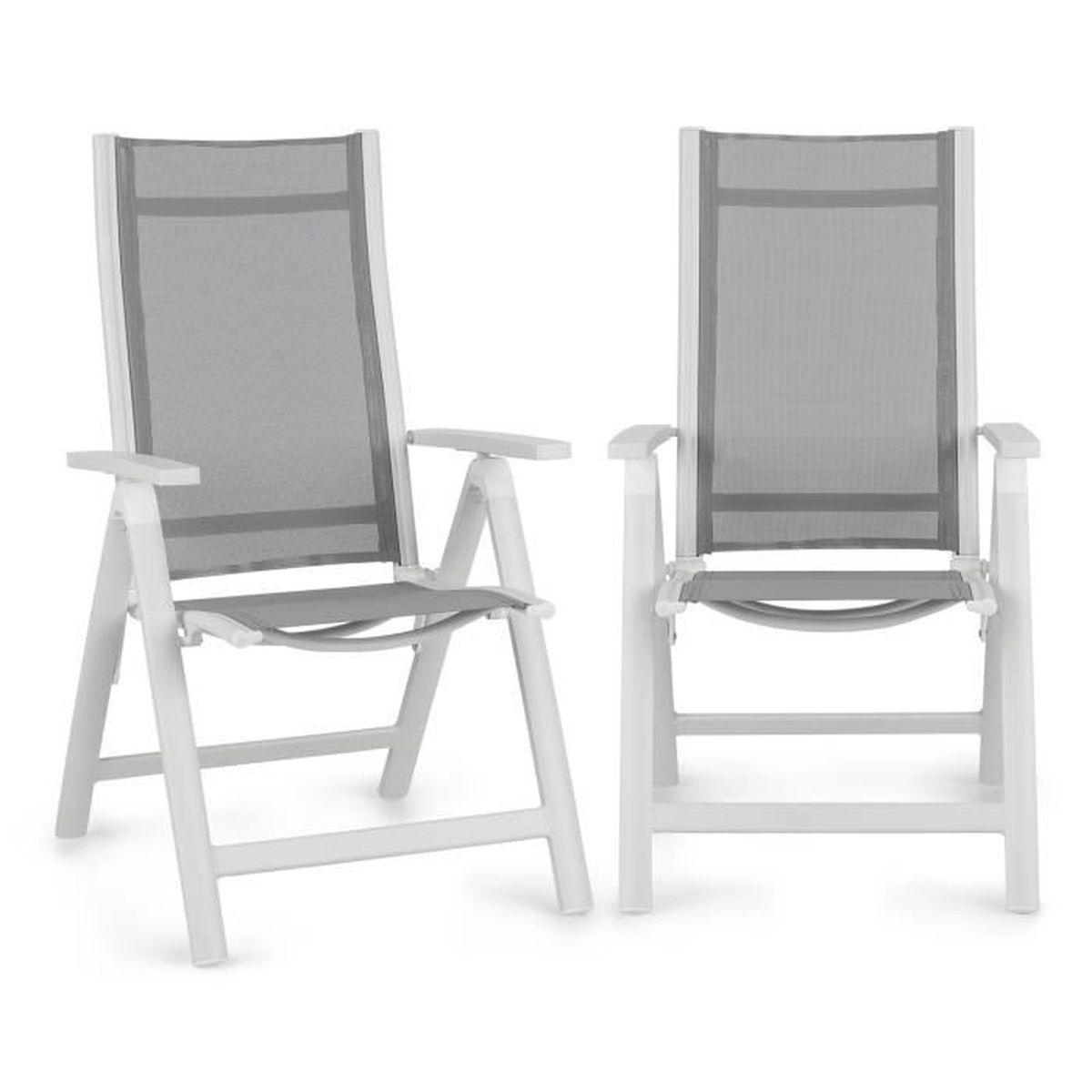 Lot de Aluminium Chaises de Jardin Pliante Fauteuil Inclinable Siège Confortable