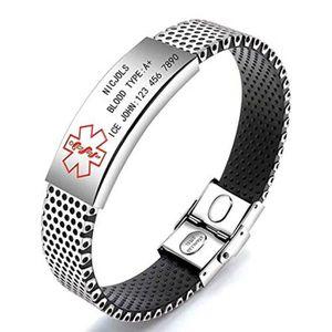 Gravure Gratuite Cœur Tag en Acier Inoxydable Médical Alert ID Bracelet pour femmes ADJ