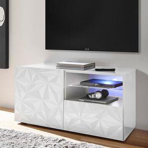 MEUBLE TV Petit meuble TV 120 cm blanc laqué design sans écl