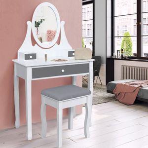COIFFEUSE Coiffeuse table de maquillage en bois blanc et gri