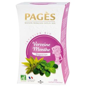 THÉ Pages Infusion Digestion Verveine Menthe Bio 20 sa