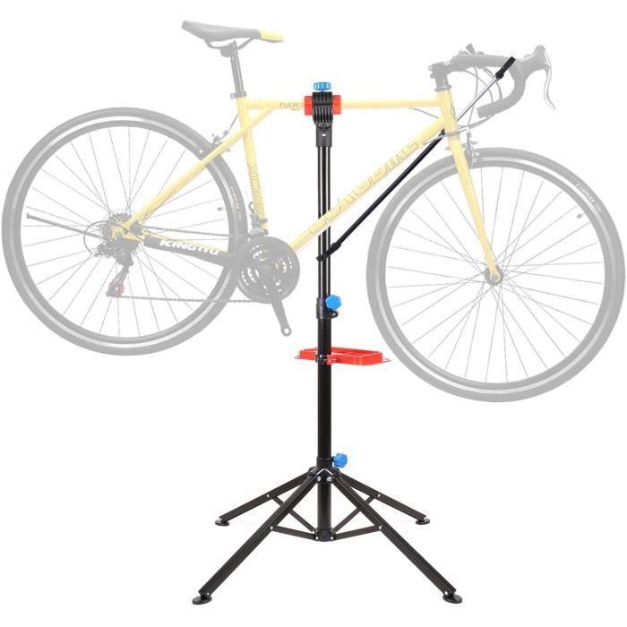 Pied d'Atelier pour Vélo Support Stand de Réparation Hauteur Réglable 105-170CM Pivotant jusqu'à 360° avec Support pour Outils