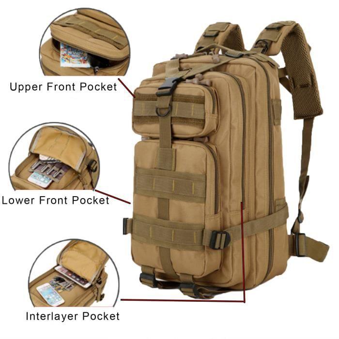 Sac à Dos Tactique Extensible 3P 800D 40L Backpack Technique Randonnée Camouflage Multi-Poche Kaki pour Homme Femme