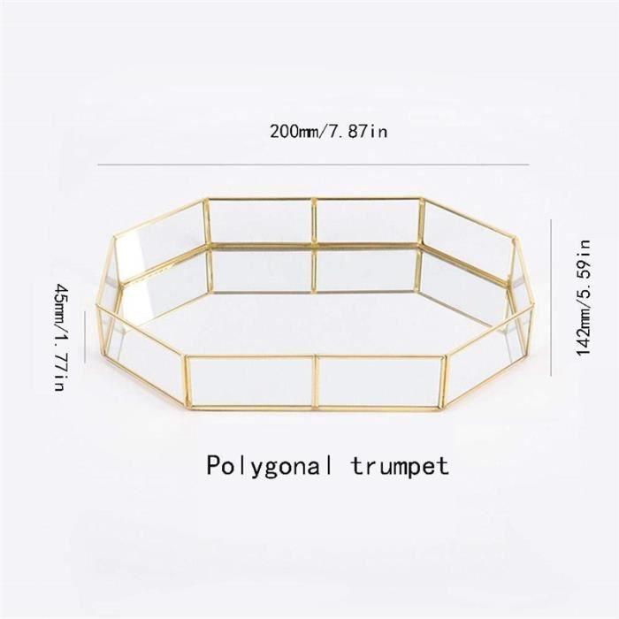 Verre Plateau de rangement Or Plateau Facile bijoux cosmétique Décoration Rétro Bande de cuivre Polygone 200*142*45 mm