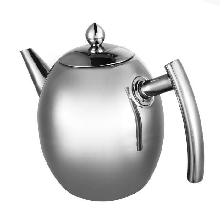 1L Bouilloire - théière en acier inoxydable avec filtre--SEC