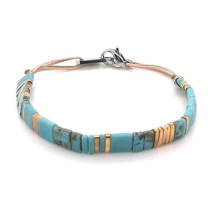 Bracelet - Gourmette - Jonc - ZAG BIJOUX - Bracelet Zag Bijoux acier perles Miyuki Turquoises - Couleur de la matière:Blanc