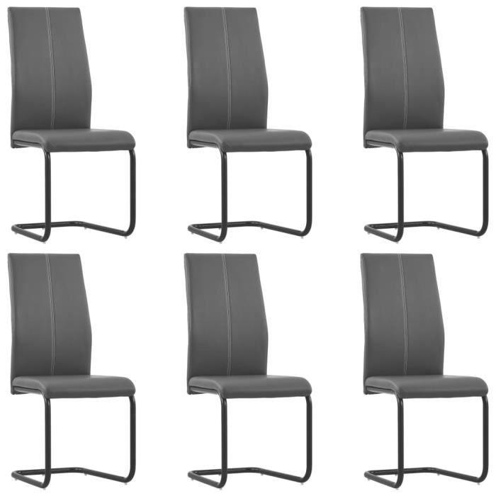 BOI® Chaises de salle à manger 6 pcs Gris Similicuir 43 x 54 x 102 cm