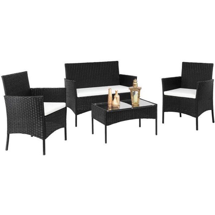 Salon Bas de Jardin en Résine Rotin 1 Canapé + 2 Fauteuil + 1 Table Basse - 4 Places - Noir