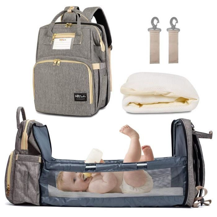 Sac de Voyage Polyvalent pour bébé Sac à Couches Convertible pour bébé 4 en 1 Lit de bébé Pliable, Station à Langer Portable-Gris