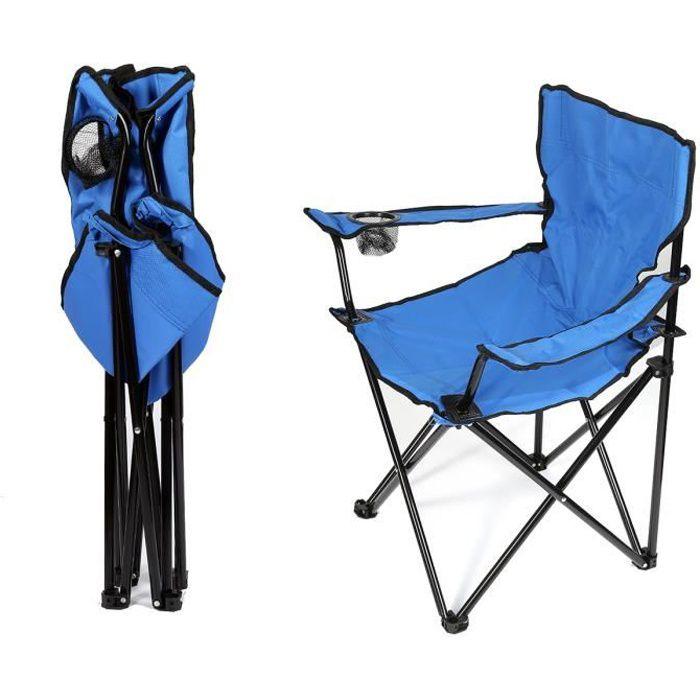 (bleu)Fauteuil pliante camping 5 Positions - Aluminium et PVC Tissé