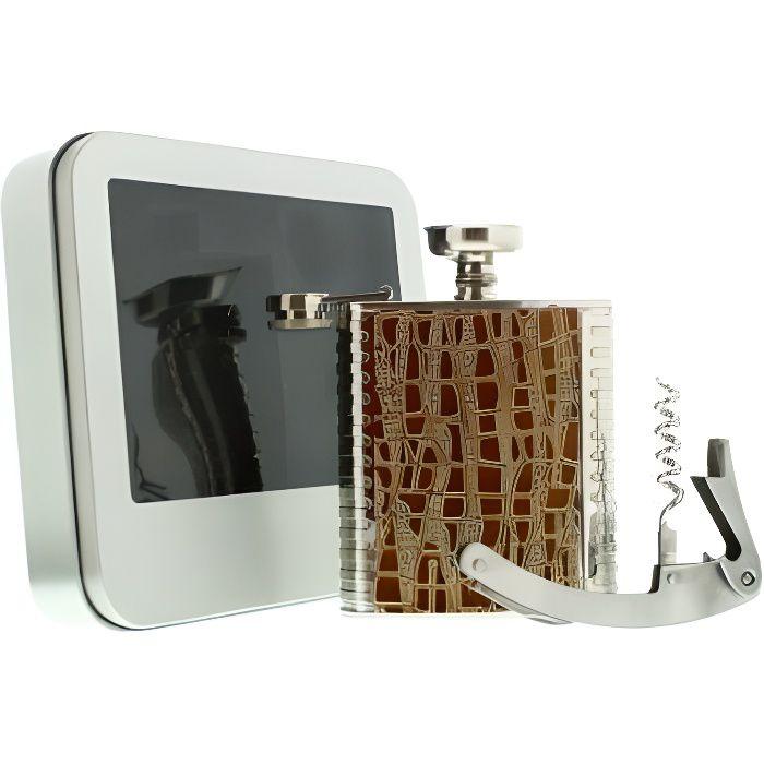 Flasque avec entonnoir et limonadier - Fiole à alcool Beige - Imitation cuir - 3 pièces