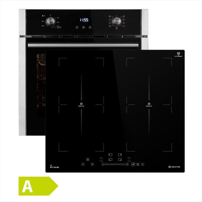 Four électrique encastrable 60 cm EB8005ED + Plaques de cuisson induction 59 cm IND5901FZ (minuterie automatique, acier inox)