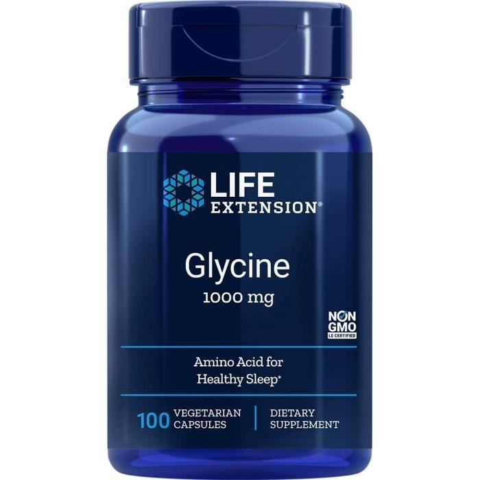 Vitamines, minéraux et compléments Life Extension Glycine Vegetarian Capsules, Mg, 100 Count by Life Extension 770723