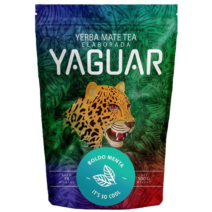 Yaguar Boldo Menta - Yerba Maté du Brésil - 500 g - Yerba Maté à base de plantes à la menthe et à boldo - Parfait pour minceur -