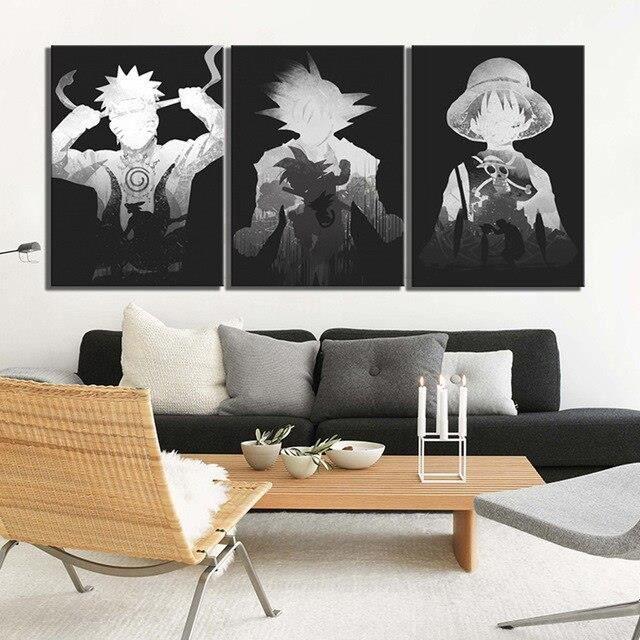 LB16579 Imprimé Modulaire Image Toile Affiche Décor À La Maison 3 pièces Dessin Animé Naruto Noir Blanc Dragon Ball Une Pièce