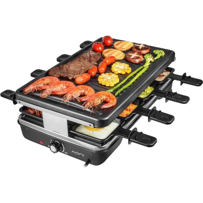 AONI Electric Raclette Grill Smokeless Party Grill Grill électrique avec surface de cuisson antiadhésive, 1200W Contrôle de la tempé