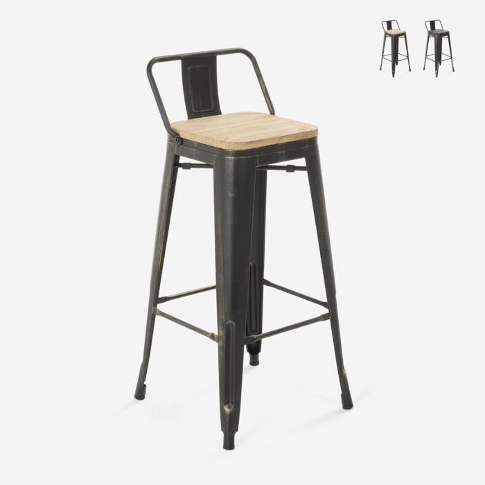 Tabouret design industriel métal bois vintage style tolix Brush Top, Couleur: bois neutre