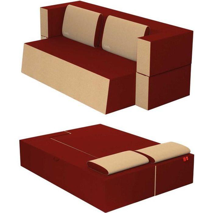 Canapé Lit Praticho Convertible Modulable Réversible 2 places -Tissu dehoussable et lavable Couleur Rouge Pompéien