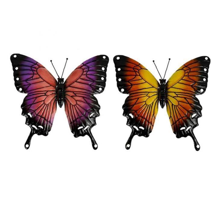 Jardin Art mur extérieur Clôture Hanging Sculpture en métal Artisanat Décoration 3D Petit insectes volants colorés 2PCS