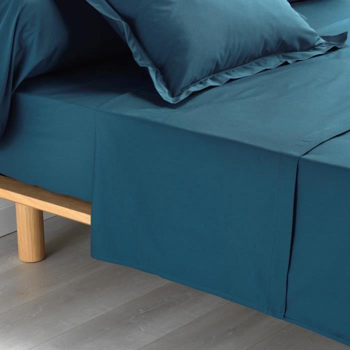 CDaffaires Drap plat 2 personnes 240 x 300 cm percale uni 78 fils percaline +p bourdon Bleu