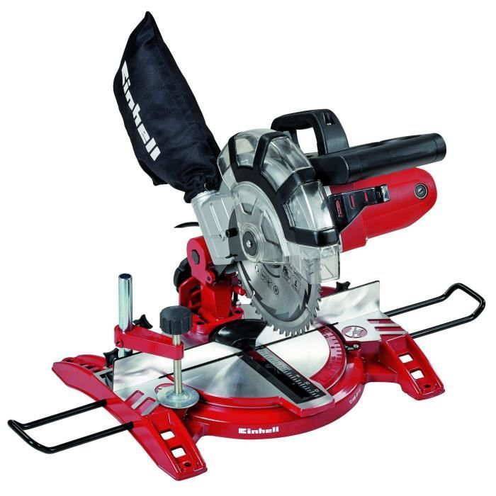 Einhell Scie à onglet radiale TC-MS 2112 (1600 W, Largeur de coupe maximale : 120 mm, Table pivotante, Tête de scie inclinable, Sac