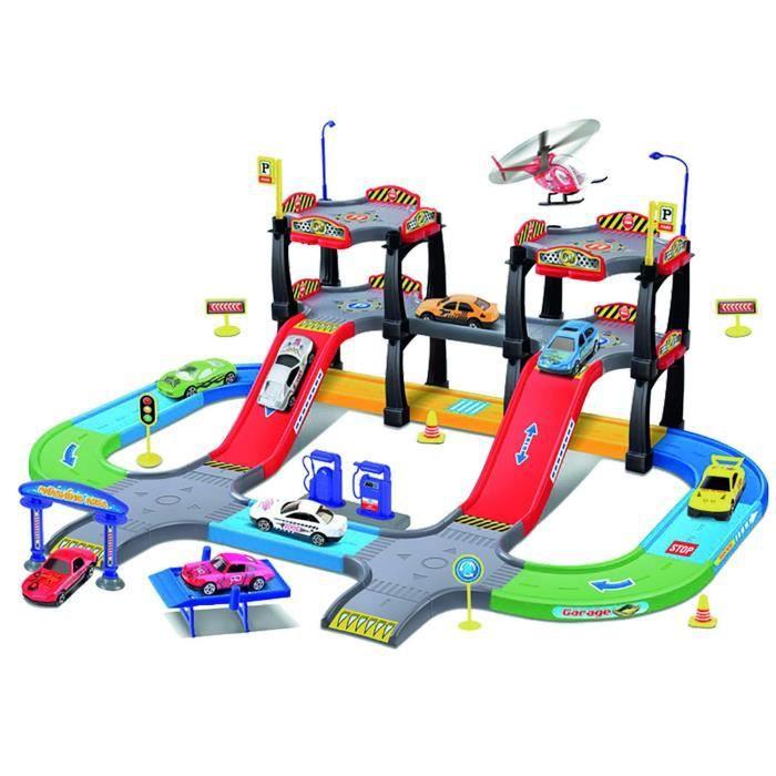 Circuit ville avec 2 Voitures et 1 Hélicoptère - Multicolore