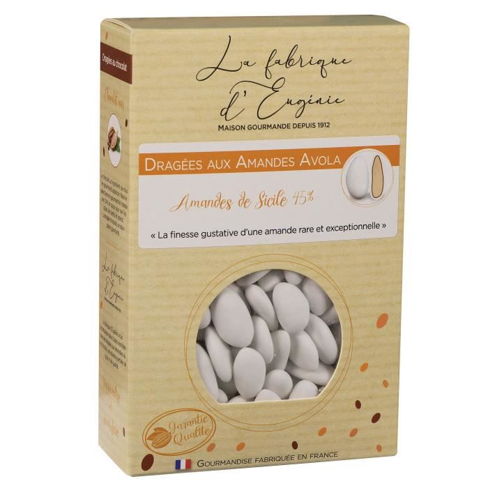 LA FABRIQUE D'EUGENIE Dragées aux Amandes Avola 45% - Blanc - 500 g