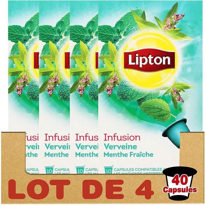 Lipton Infusion Verveine Menthe Fraiche 40 Capsules ( LOT DE 4 )