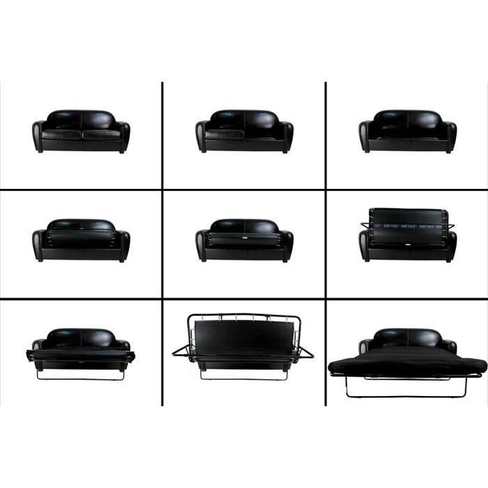 Miliboo - Canapé Club convertible en cuir de vachette noir 3 places