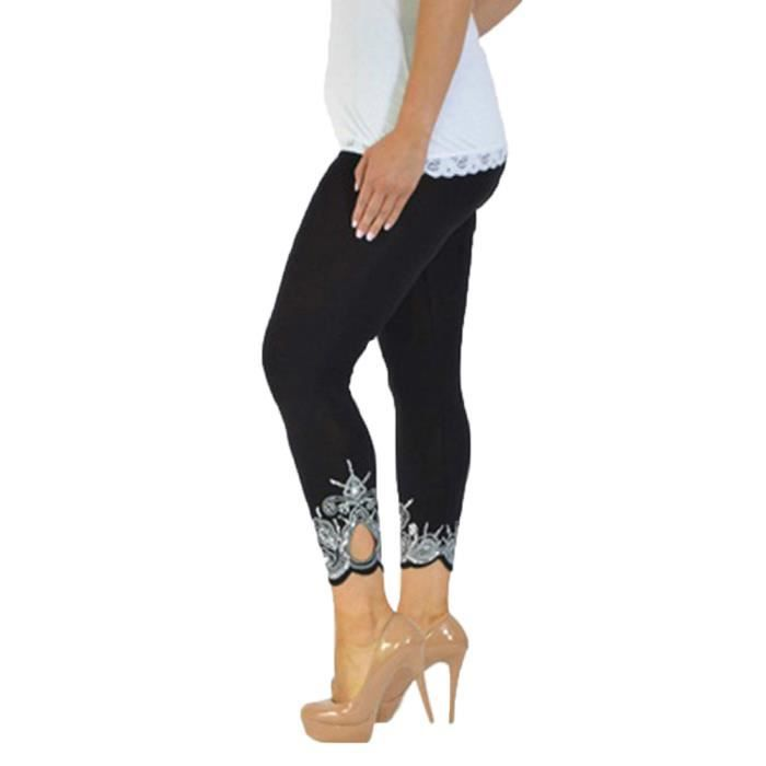 Femmes Sport Workout Yoga Imprimer Mid la taille en cours de remise en forme Pantalon Legging élastique Noir