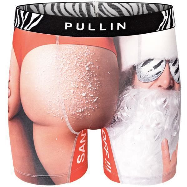 PULL IN Boxer Long Homme Microfibre SANTASS Blanc Rouge