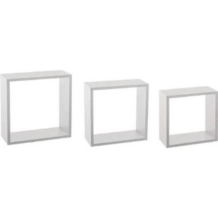 Lot de 3 Étagères Murales -Cube- 30cm Blanc