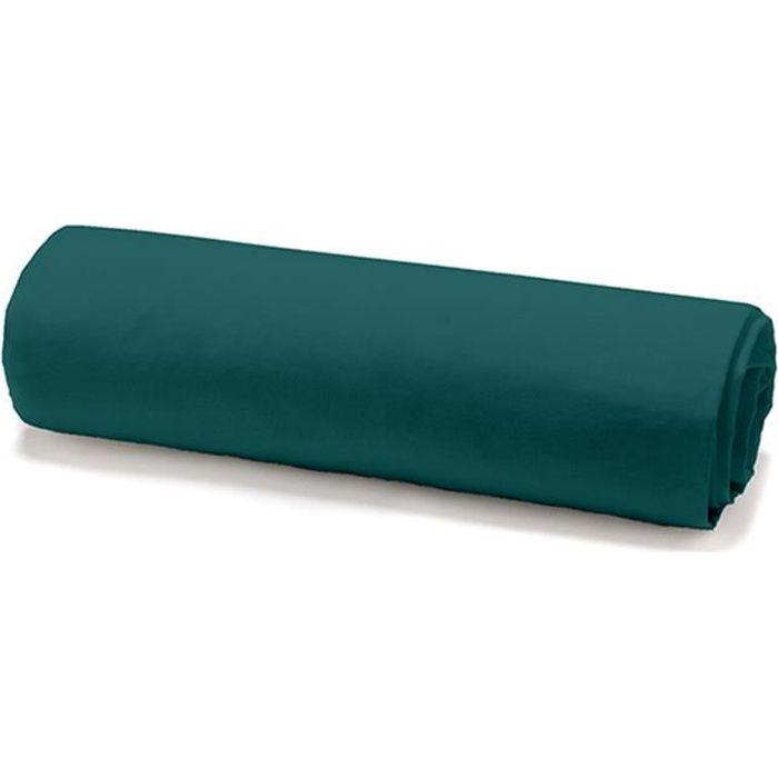 TODAY Drap housse 100% coton - 140 x 190 cm - Vert émeraude