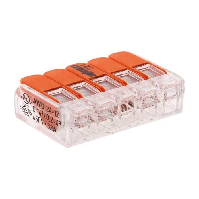 Lot de 20 mini bornes de connexion rapide S221 pour fils rigides - 5 entrées - Wago