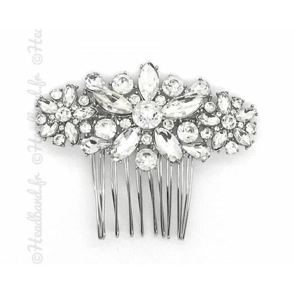 Peigne de mari/ée /à motifs floraux avec strass et perles d/'imitation