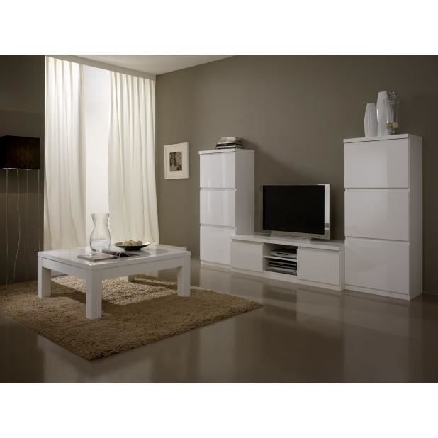 ensemble 4 l ments laque blanc meuble t l 2 colonne t l table basse achat vente. Black Bedroom Furniture Sets. Home Design Ideas
