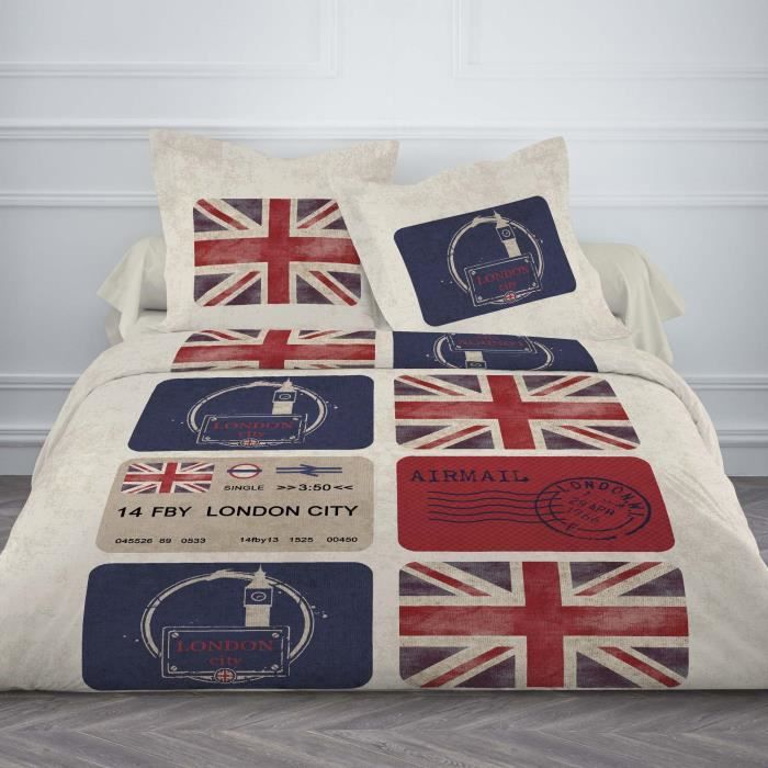 housse de couette 220x240cm 100 coton drapeau uk lettre de londres beige 2 taies achat. Black Bedroom Furniture Sets. Home Design Ideas