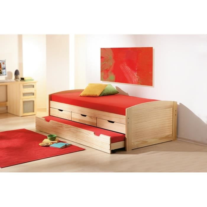oliver lit 90x190 gigogne 3 tiroirs achat vente. Black Bedroom Furniture Sets. Home Design Ideas